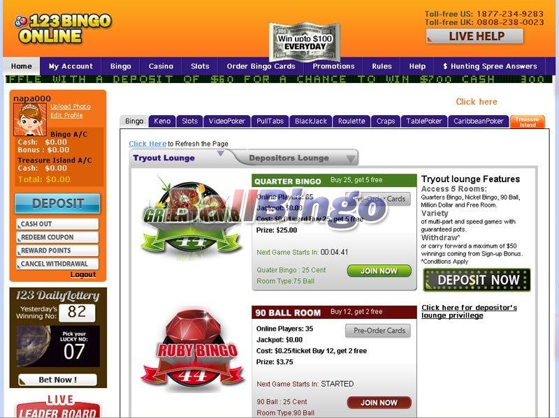 123 Bingo online