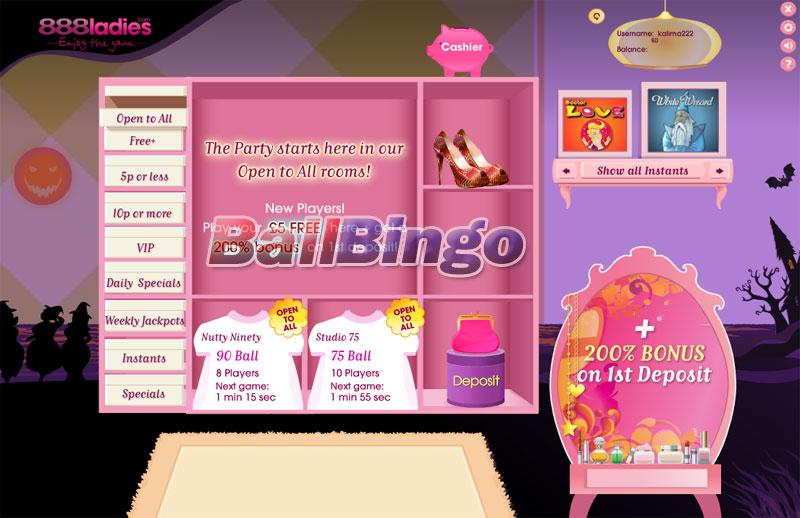 888 Ladies Bingo lobby