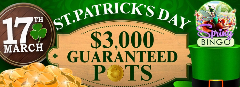St. Patrick's Day Bingo Guaranteed Pots Luck of the Irish