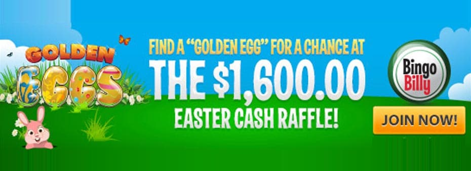 Bingo Billy invites players to find a Golden Egg for a chance to win $1,600