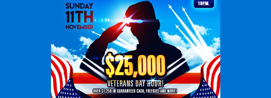 $25,000 Veterans Day Hour at Amigo Bingo (Nov 11th from 10pm to 11pm)