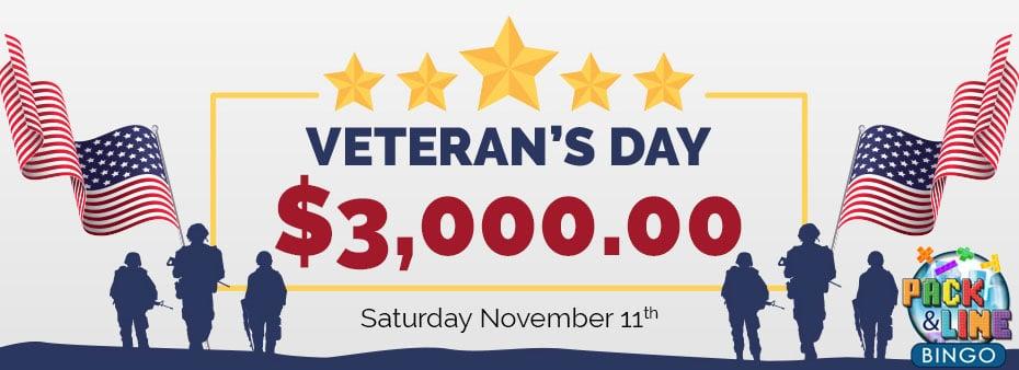 Veteran's Day $3,000 Guaranteed at CyberBingo