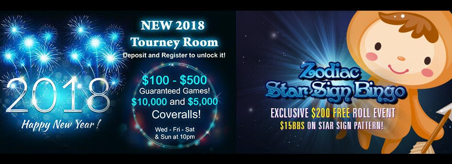 New 2018 Tourney Room – Zodiac Star Sign Bingo