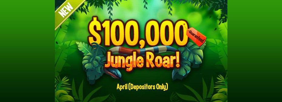 New $100,000 Guaranteed Jungle Roar Bingo in April