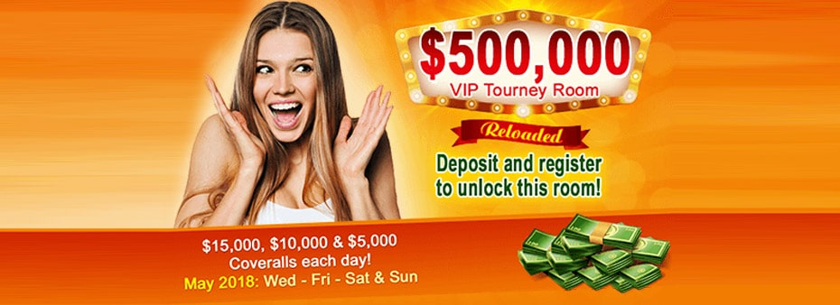 $500,000 VIP Tourney Room. Deposit and register to unlock it!