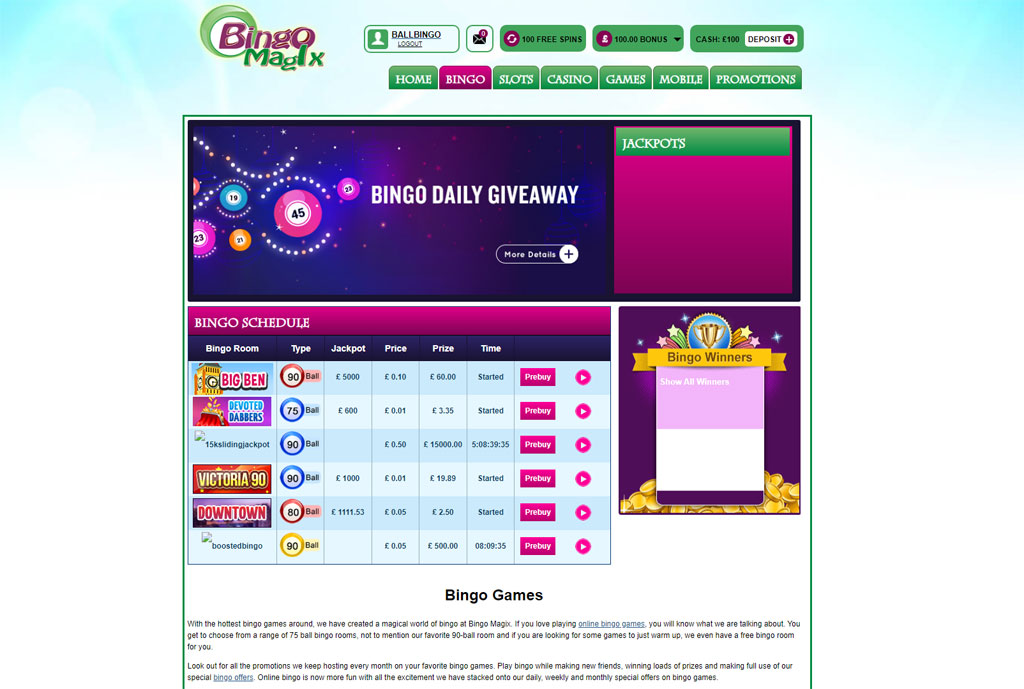 bingo magix lobby