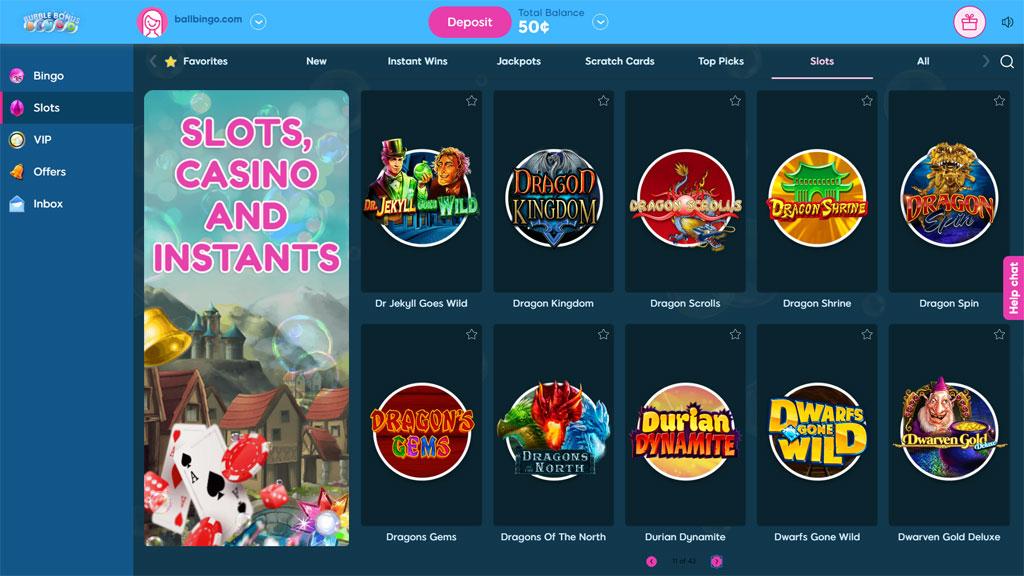 bubble bonus bingo slots