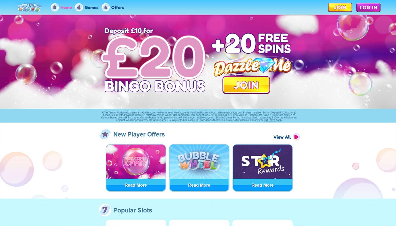 Bubble Bonus Bingo website