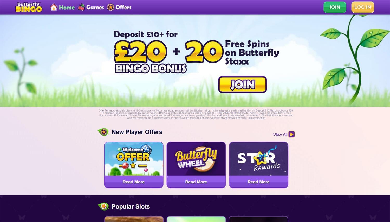 Butterfly Bingo website