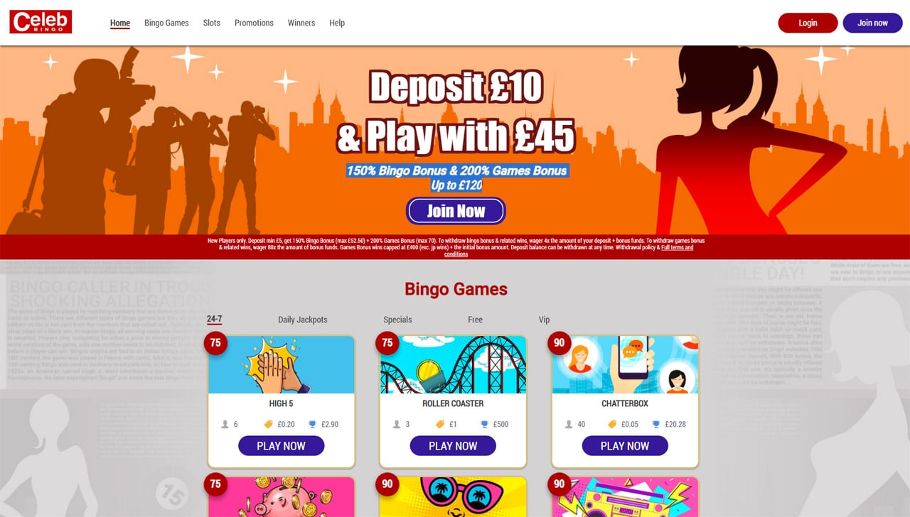 Celeb Bingo website