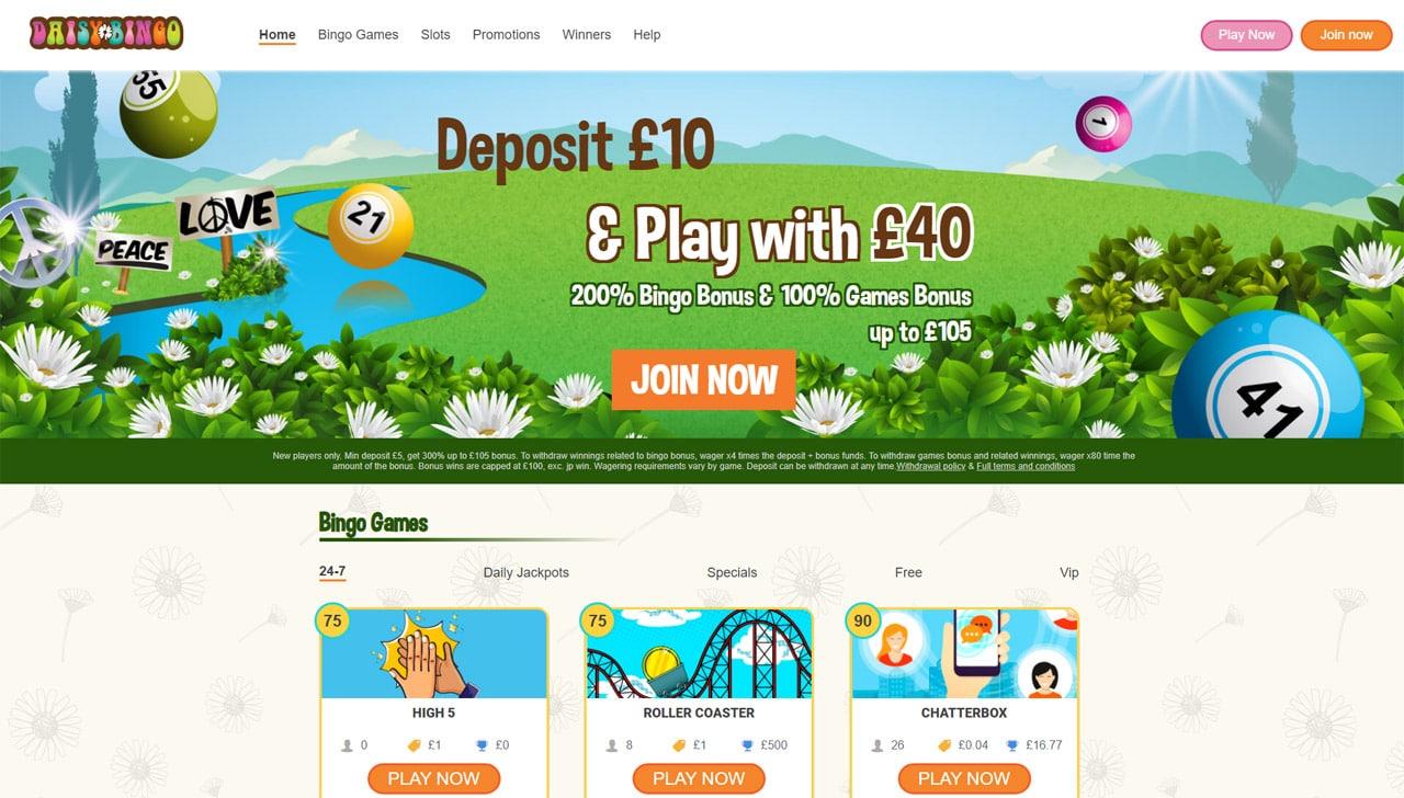 Daisy Bingo website