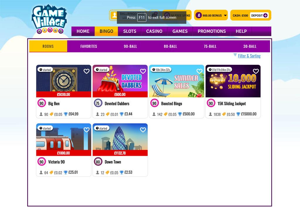 gamevillage bingo lobby