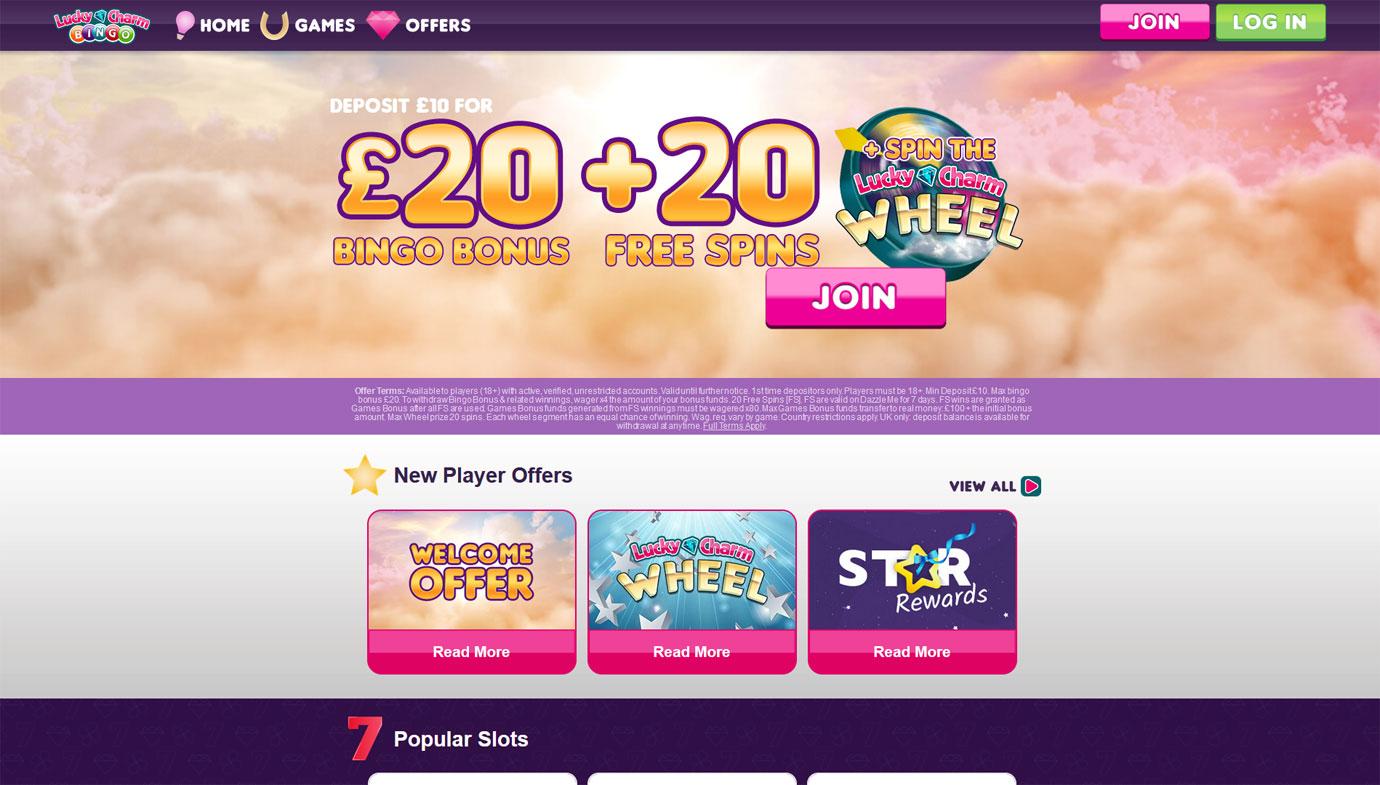 Lucky Charm Bingo website