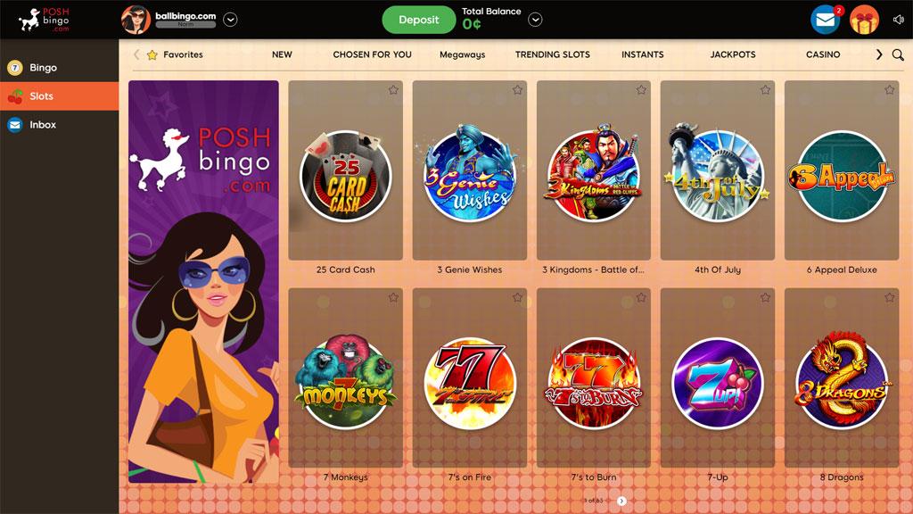 posh bingo slots