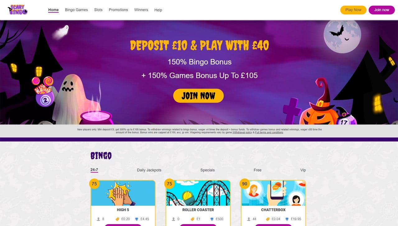 Scary Bingo website