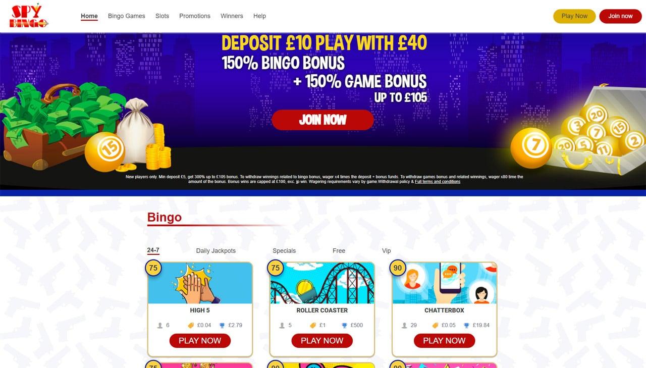 Spy Bingo website