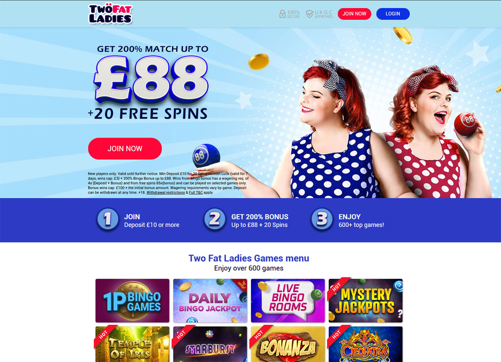Two Fat Ladies Bingo website