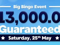 Play for guaranteed cash prizes of $13,000 in the Biggest Bingo event of the month!