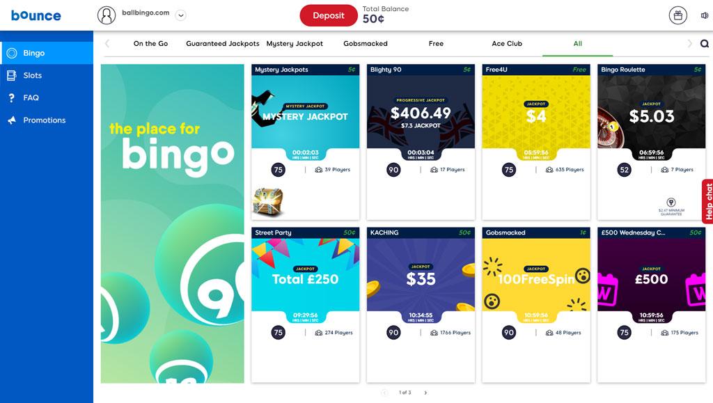 bounce bingo lobby