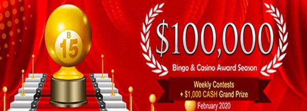 $100,000 Bingo Award Season – February 2020 at Amigo Bingo