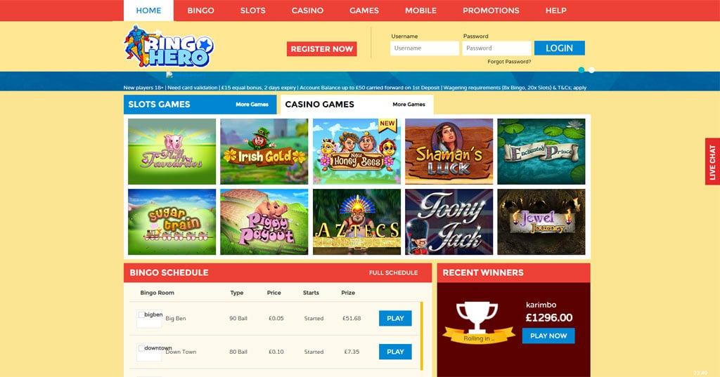 Bingo Hero website