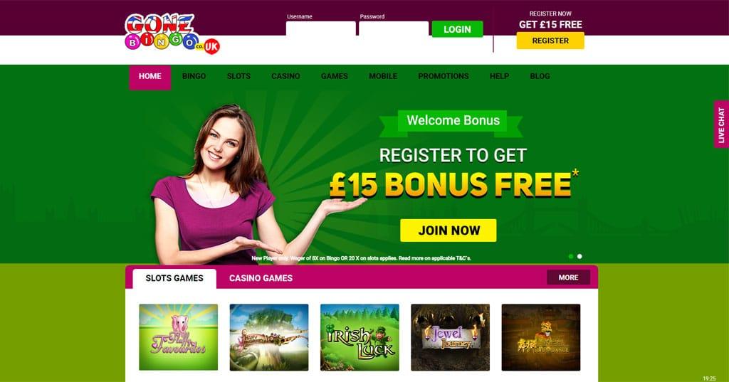 Gone Bingo website