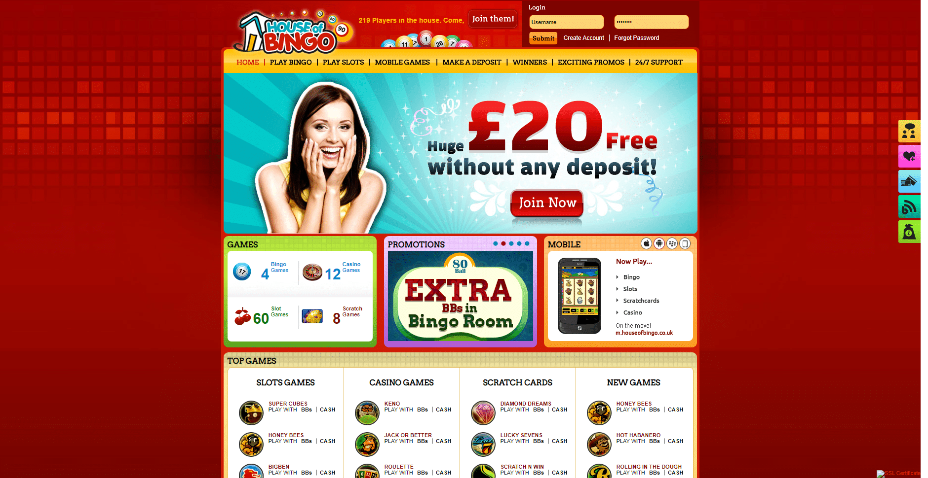 House of Bingo website