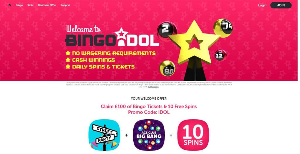 Bingo Idol website