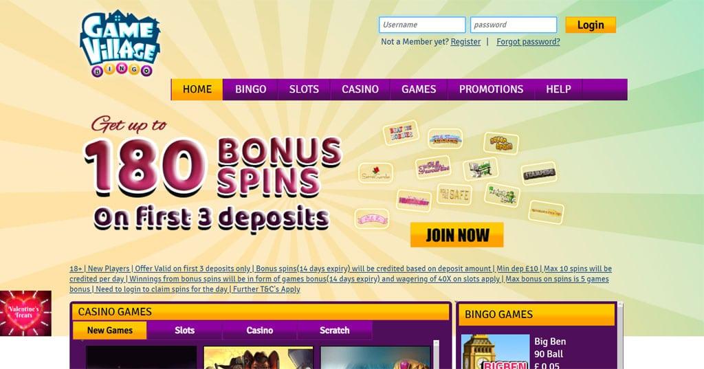 Gamevillage Bingo website