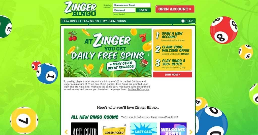 Zinger Bingo website