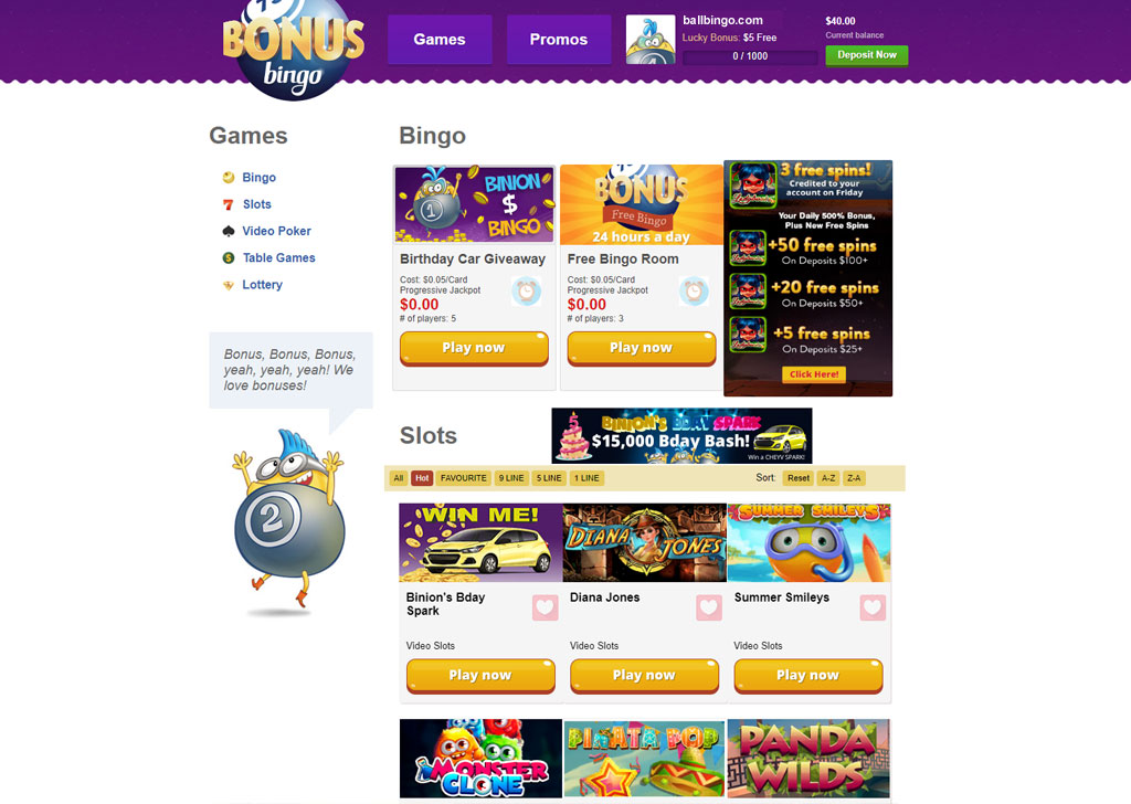 Bonus Bingo website