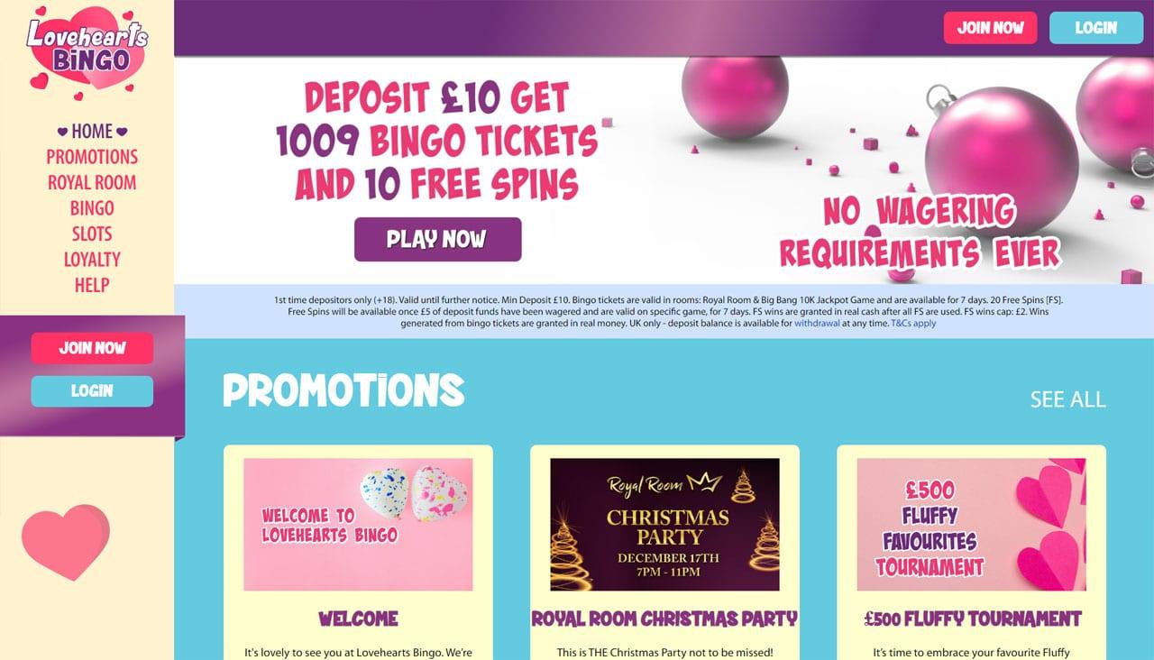 Lovehearts Bingo website