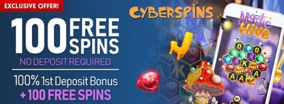 100 No Deposit Sign Up Spins on Betsoft's new game Mystic Hive at Cyber Spins