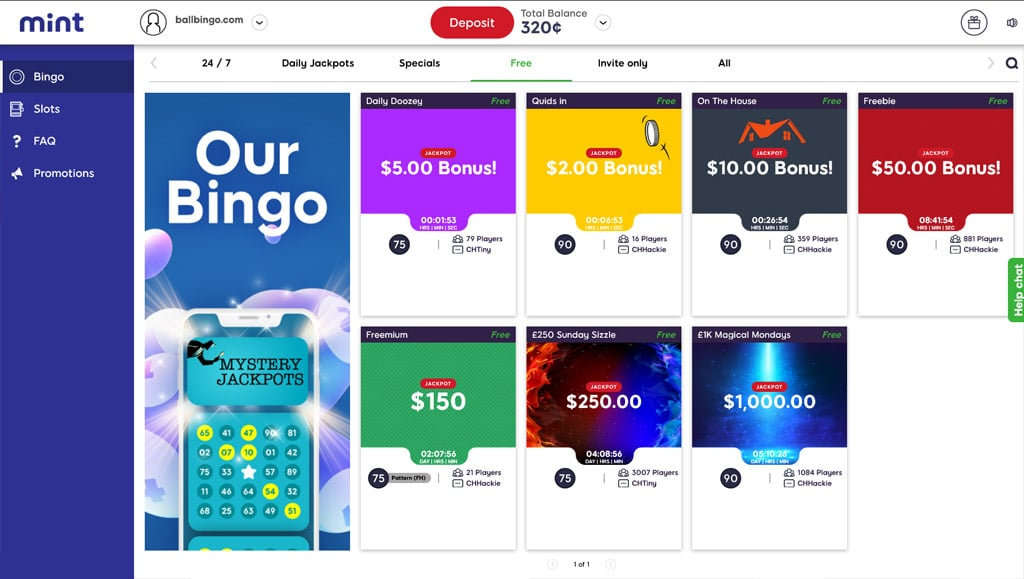 mint bingo free rooms