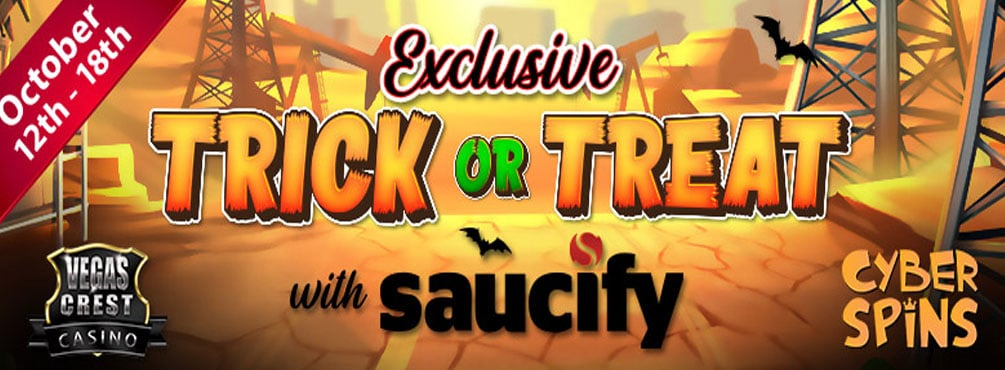 Smashing, exclusive Trick or Treat with Saucify Slots Tourney at Cyber Spins!