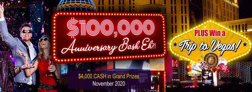 $100,000 Anniversary Bash Eh?! – November 2020 at Amigo Bingo