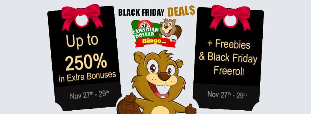 Black Friday FreeRoll at Canadian Bingo – 250% in EXTRA bonuses
