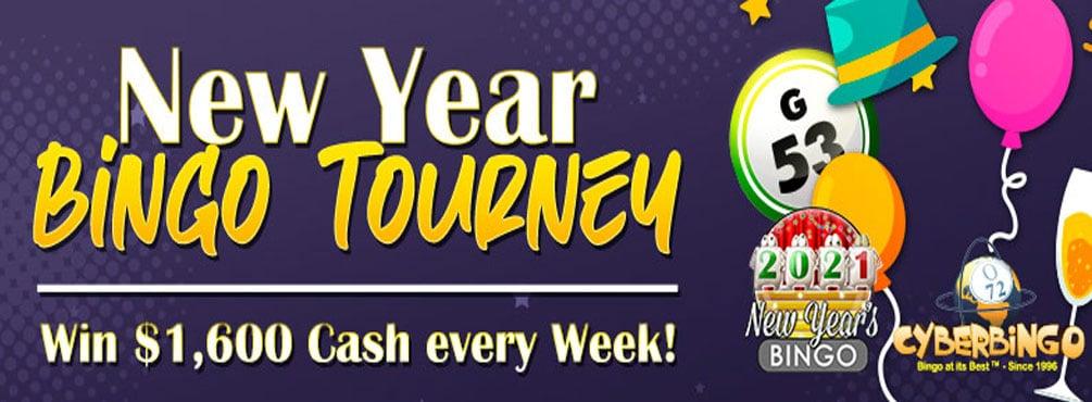Win BIG in the New Year Bingo Tourney at Cyber Bingo
