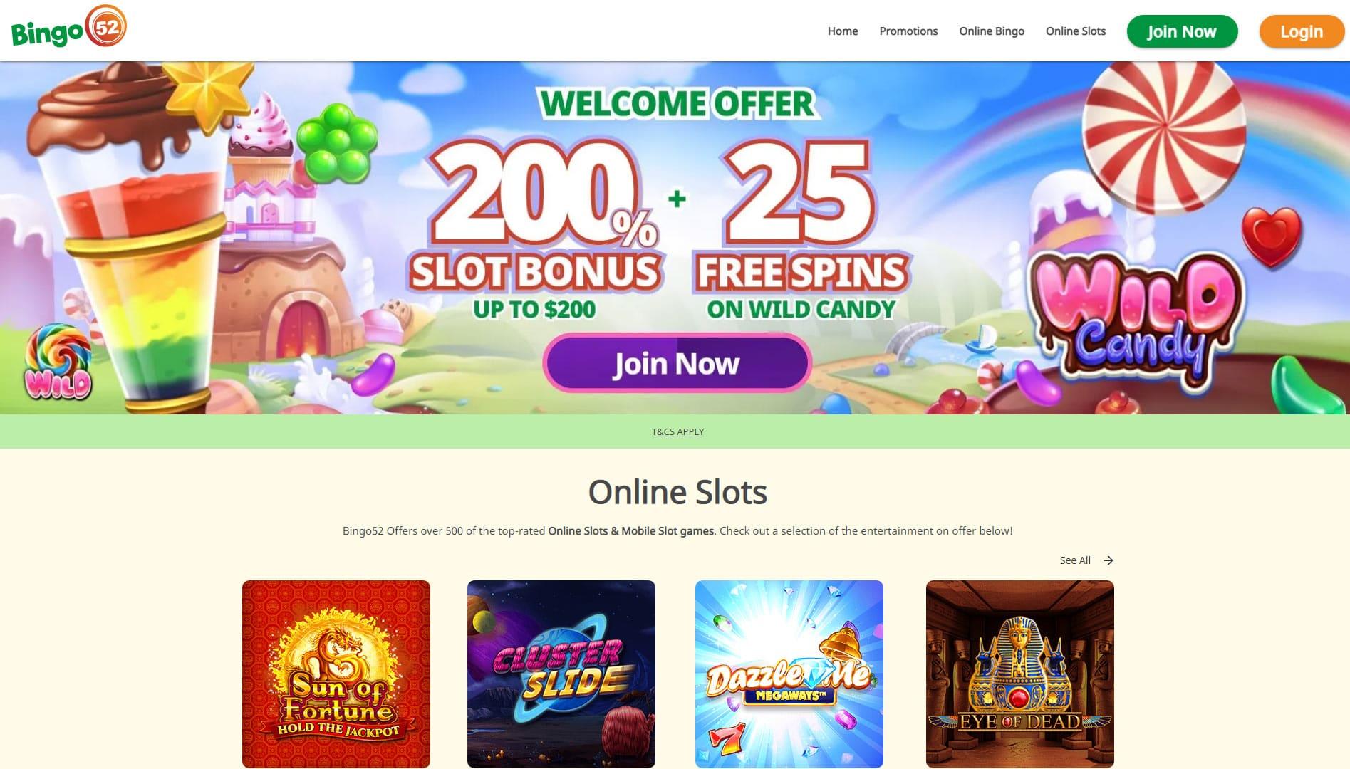 Bingo 52 website