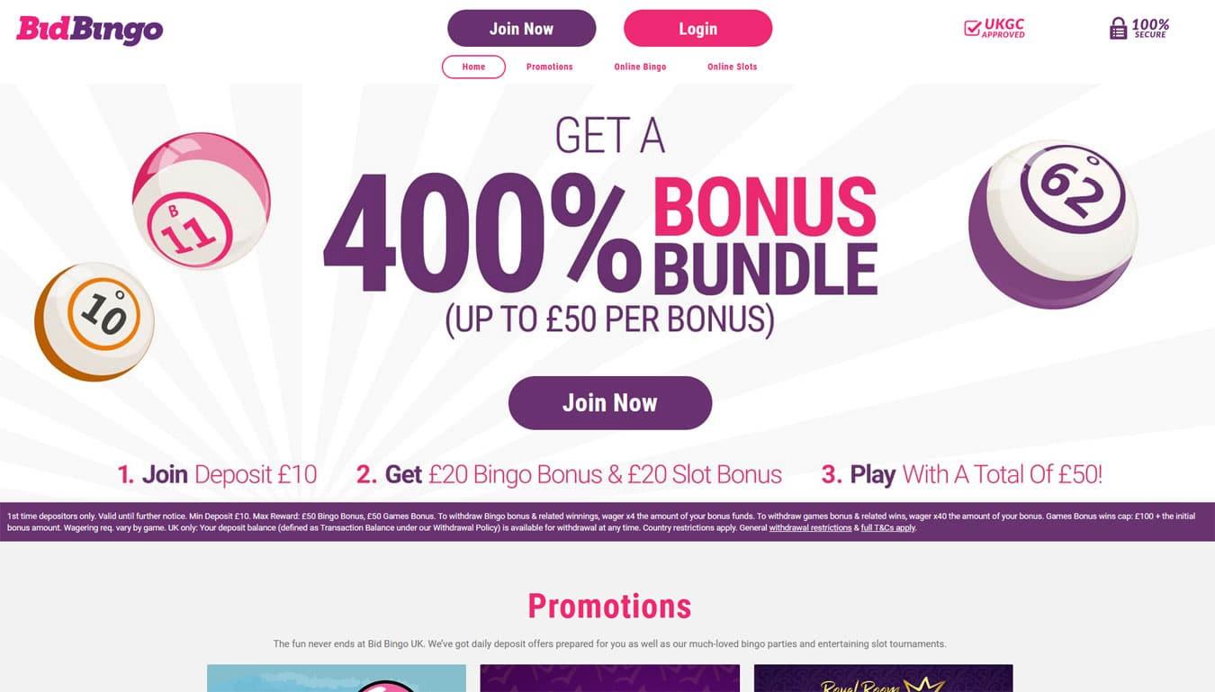 Bid Bingo website