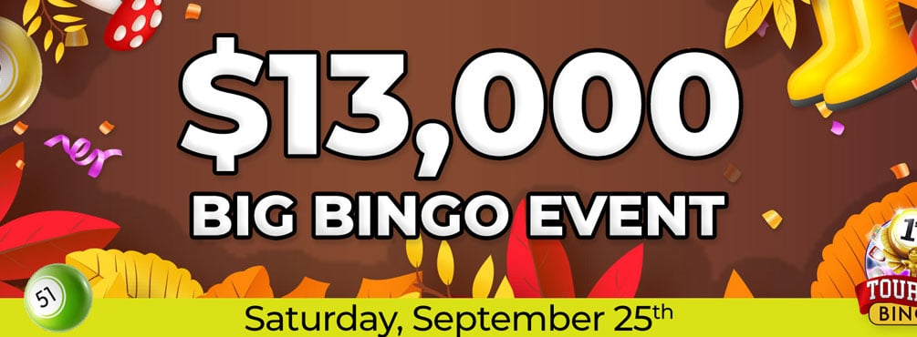 Play in the $13,000 Big Bingo Event at Cyber Bingo this September