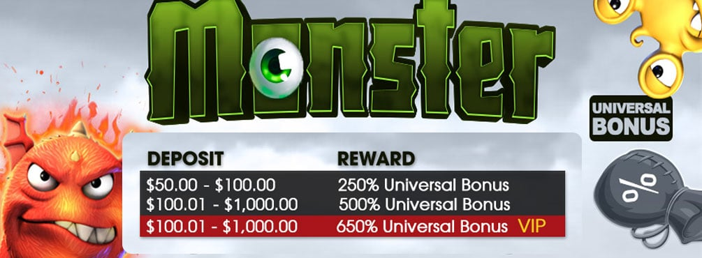 Get 650% extra with our Monster Sunday Bonus